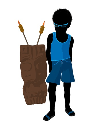 African american beach boy with tiki illustration silhouette on a white background illustration