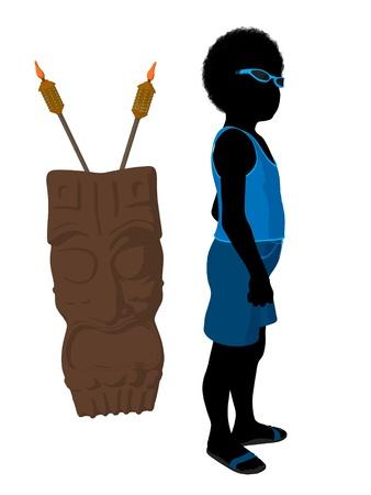 ティキ図シルエット、白い背景の上でアフリカ系アメリカ人の浜の男の子