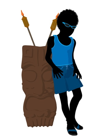 African american beach boy with tiki illustration silhouette on a white background Stock Illustration - 8620121