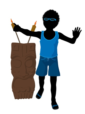 African american beach boy with tiki illustration silhouette on a white background Stock Illustration - 8617892