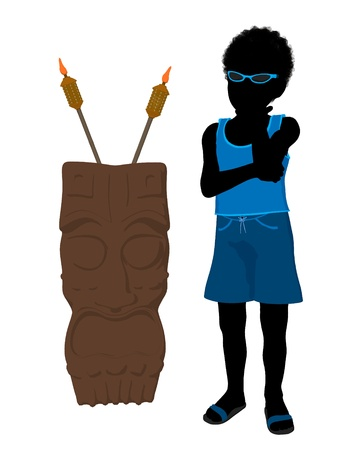 African american beach boy with tiki illustration silhouette on a white background Stock Illustration - 8620119