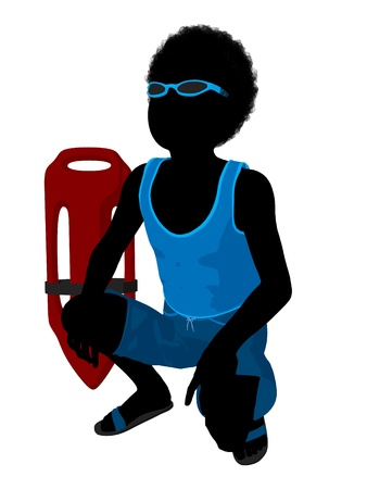 bouy: African american each boy with lifeguard bouy illustration silhouette on a white background