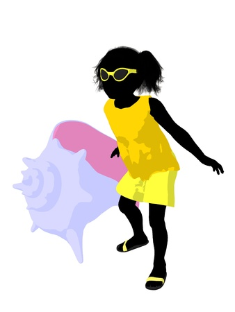 Beach girl with a sea shell illustration silhouette on a white background illustration