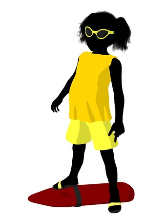 Beach girl with a lifeguard buoy illustration silhouette on a white background illustration