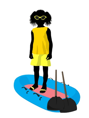 Beach girl with boat illustration silhouette on a white background Stock Illustration - 8620124