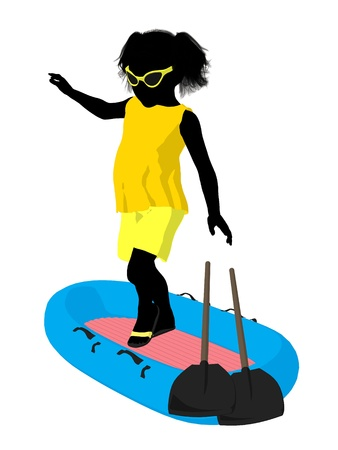 Beach girl with boat illustration silhouette on a white background Stock Illustration - 8620141