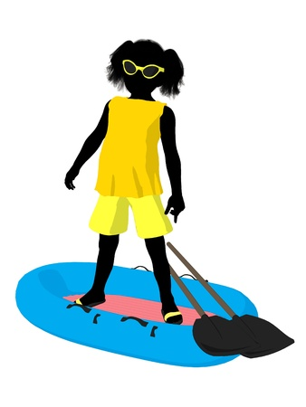 Beach girl with boat illustration silhouette on a white background