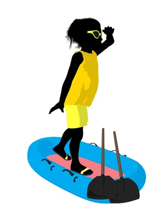 Beach girl with boat illustration silhouette on a white background Stock Illustration - 8620072