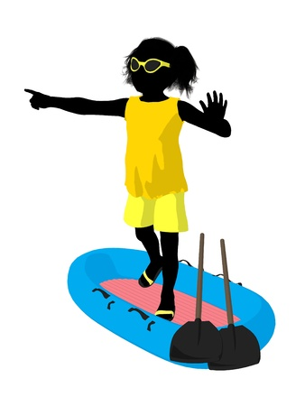Beach girl with boat illustration silhouette on a white background Stock Illustration - 8620105