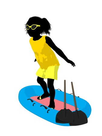 Beach girl with boat illustration silhouette on a white background illustration