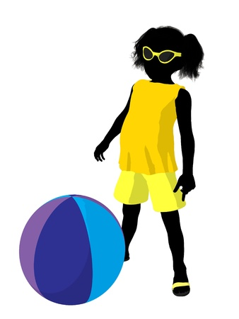 Beach girl with beach ball illustration silhouette on a white background illustration