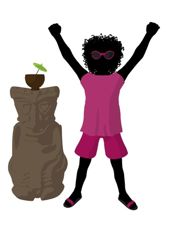 African american beach girl with tiki illustration silhouette on a white background Stock Illustration - 8620076