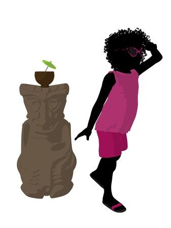 ティキ図シルエット、白い背景の上でアフリカ系アメリカ人の浜の女の子 写真素材