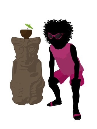 African american beach girl with tiki illustration silhouette on a white background Stock Illustration - 8620092