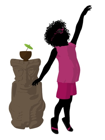 African american beach girl with tiki illustration silhouette on a white background illustration