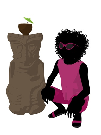 African american beach girl with tiki illustration silhouette on a white background Stock Illustration - 8620146