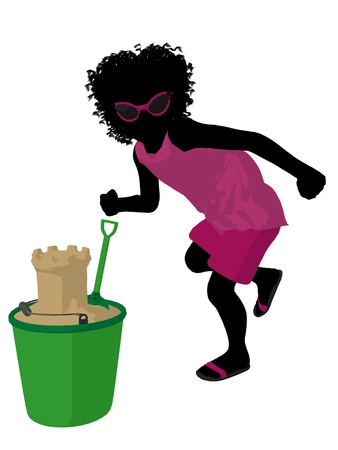 African american beach girl with sand castle illustration silhouette on a white background illustration
