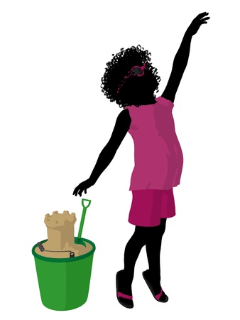 chateau de sable: African american beach girl with sand castle illustration silhouette on a white background