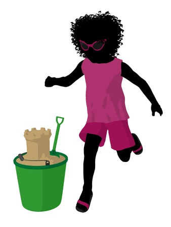 pail tank: African american beach girl with sand castle illustration silhouette on a white background