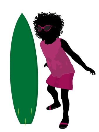 African american beach girl with surfboard illustration silhouette on a white background illustration