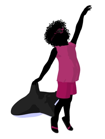 African american beach girl with inflatable toy illustration silhouette on a white background illustration