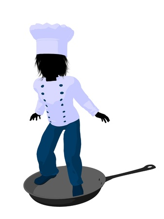 Boy chef in a skillet on a white background