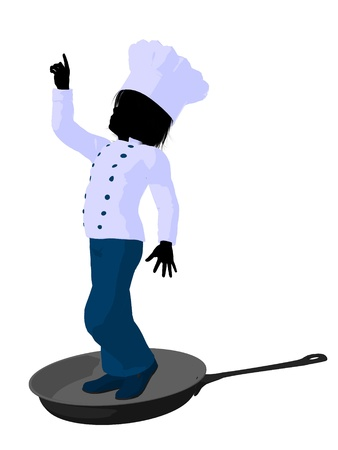 skillet: Boy chef in a skillet on a white background