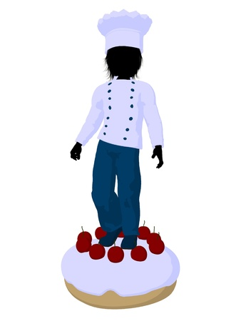 Boy chef on top of a cake  on a white background photo