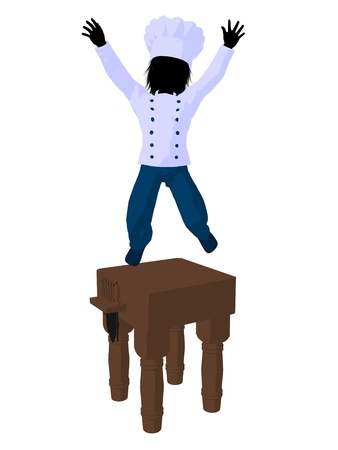 Boy chef on top of a butchers block on a white background