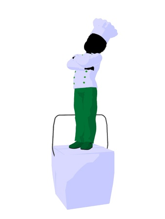 graphic illustration: African american boy chef illustration silhouette on a white background