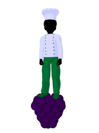 African american boy chef illustration silhouette on a white background