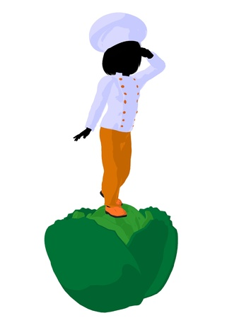 Girl chef with cabbagei illustration silhouette on a white background Stok Fotoğraf