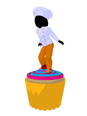 Girl chef with cupcake illustration silhouette on a white background illustration