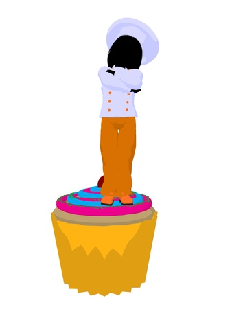 gal: Girl chef with cupcake illustration silhouette on a white background