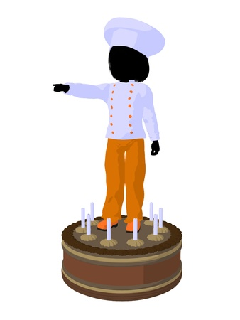 Girl chef with cake illustration silhouette on a white background Stock Photo
