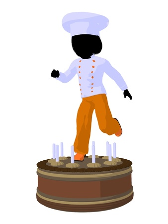 Girl chef with cake illustration silhouette on a white background illustration