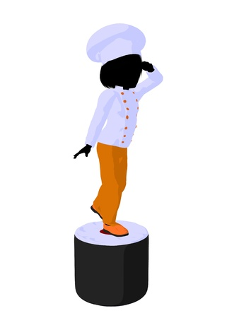 lass: Girl chef with sushi illustration silhouette on a white background