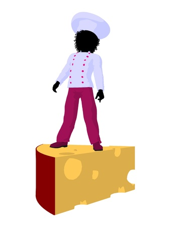lass: African american girl chef with swiss cheese illustration silhouette on a white background Stock Photo