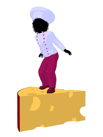 African american girl chef with swiss cheese illustration silhouette on a white background Reklamní fotografie