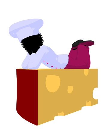 African american girl chef with swiss cheese illustration silhouette on a white background illustration