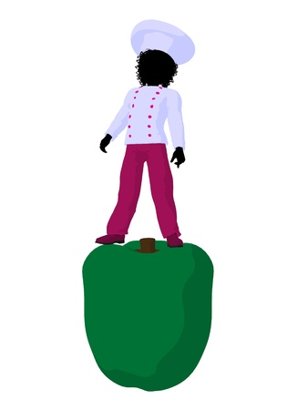 African american girl chef with bell pepper illustration silhouette on a white background Фото со стока - 8618983