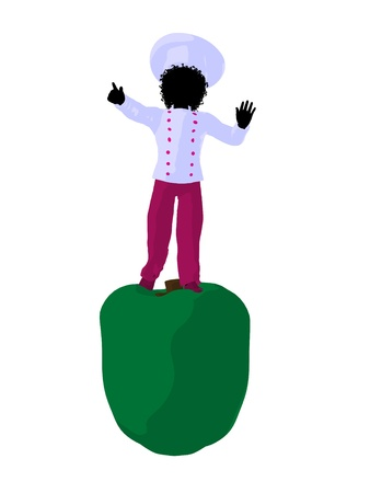 African american girl chef with bell pepper illustration silhouette on a white background Фото со стока - 8618978