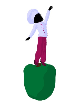 African american girl chef with bell pepper illustration silhouette on a white background Фото со стока - 8618931