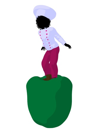 African american girl chef with bell pepper illustration silhouette on a white background Фото со стока - 8618980