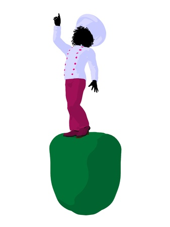 African american girl chef with bell pepper illustration silhouette on a white background