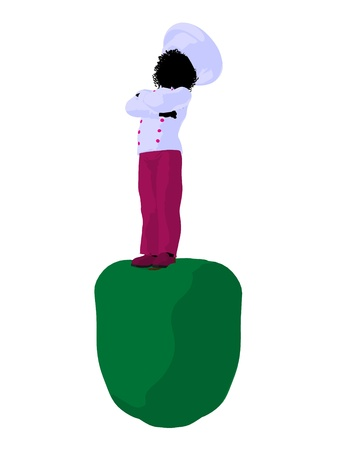 bell pepper: African american girl chef with bell pepper illustration silhouette on a white background