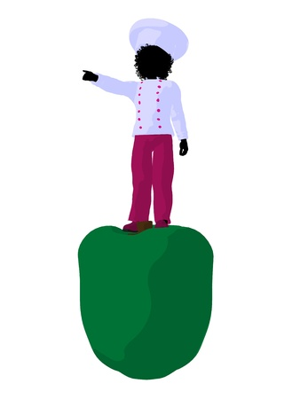 African american girl chef with bell pepper illustration silhouette on a white background Фото со стока - 8618908