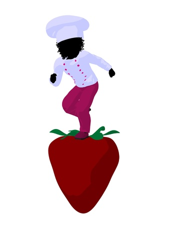African american girl chef with strawberry illustration silhouette on a white background illustration