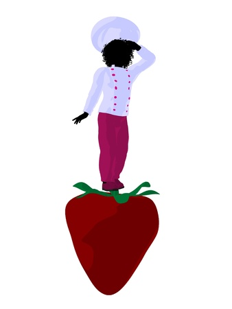 lass: African american girl chef with strawberry illustration silhouette on a white background Stock Photo
