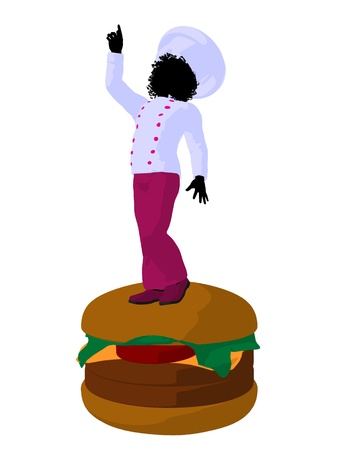 gal: African american girl chef with cheeseburger illustration silhouette on a white background